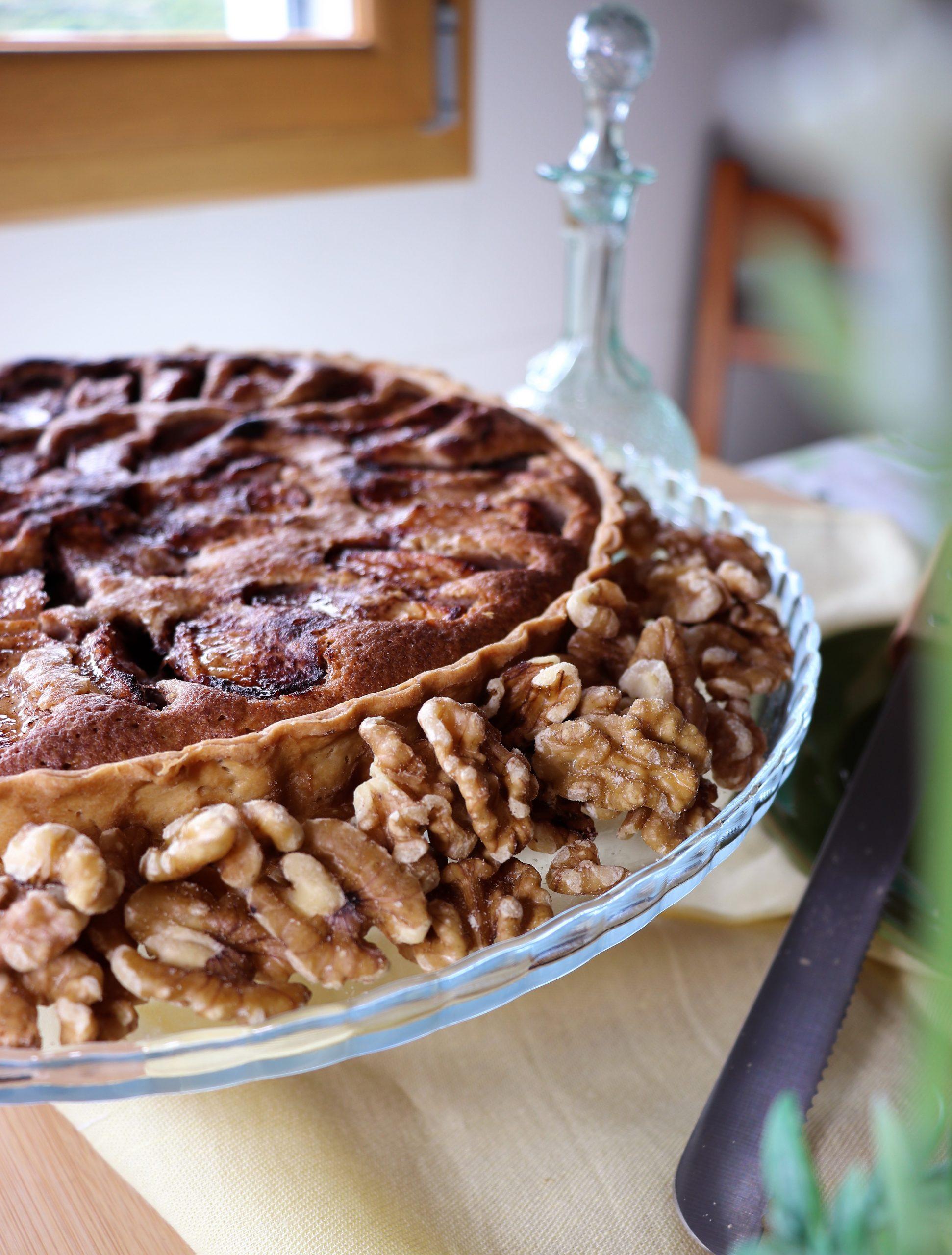 tarte de maçãs e nozes