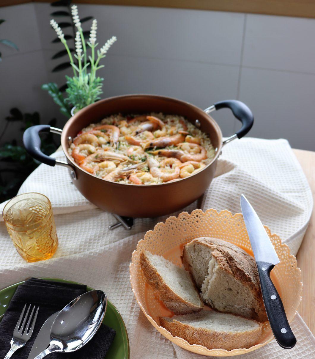 arroz de peixe e camarão